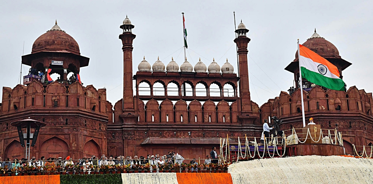 Prime Minister Narendra Modi addressing the Nation on the occasion of 73rd Independence Day from the ramparts of Red Fort, in New Delhi on Thursday