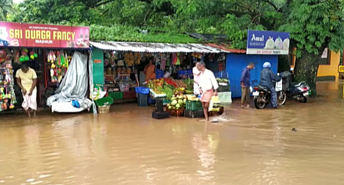 Water logging in the area around Shree Vinayak Temple in Madhur, Kerala following heavy rainfall