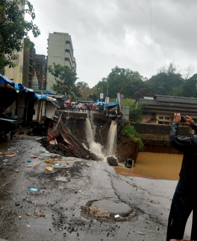 A wall collapsed on shanties due to heavy rains at Malad in Mumbai