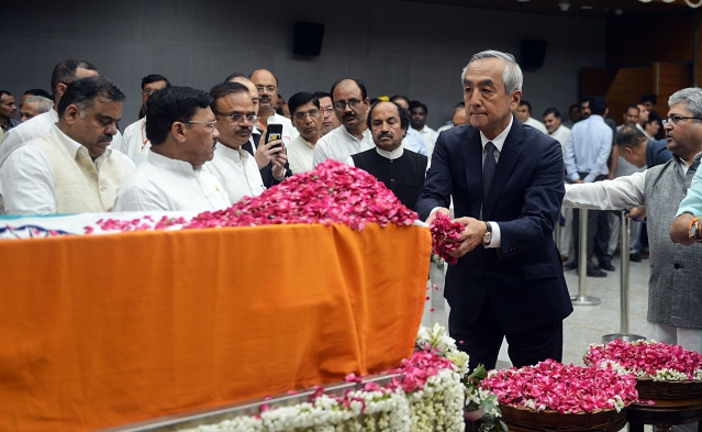 Japanese Embassy staff pays floral tributes during the last respects of former Finance Minister Arun Jaitley at BJP headquarters in New Delhi