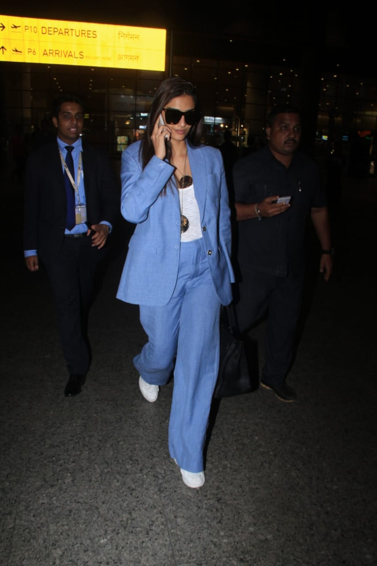 Sonam Kapoor Ahuja who was in the city for Rakshabandhan has left for London and was spotted by shutterbugs at airport.