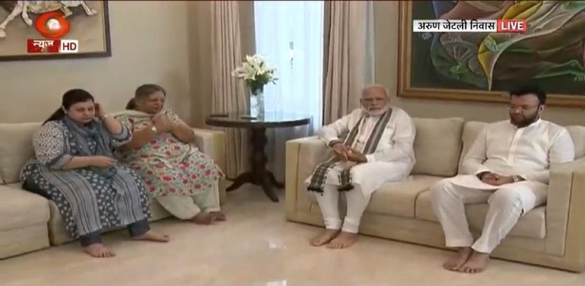 PM Narendra Modi visits Union minister Arun Jaitley's residence