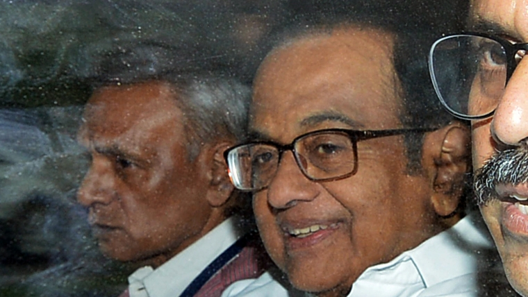 Former Union Minister P. Chidambaram being taken from CBI Headquarters to rouse avenue court for hearing in INX media case in New Delhi on Thursday. ()