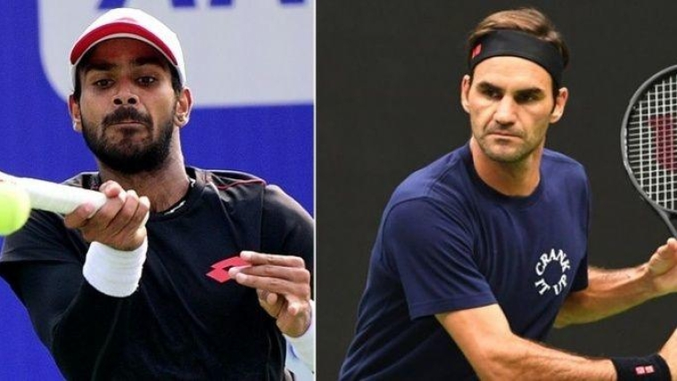 Sumit Nagal (L) and (R) Roger Federer