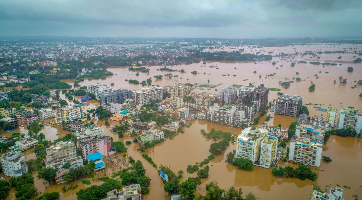A view of flooded area due to overflow of Panchganga river during monsoon season, in Kolhapur, Maharashtra, Wednesday, Aug 7, 2019.