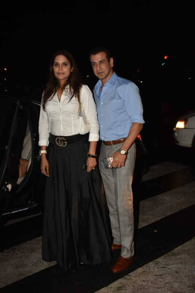Television actor best known for his role in 'Adaalat' Ronit Roy was with wife Neelam at Bastian in Bandra.