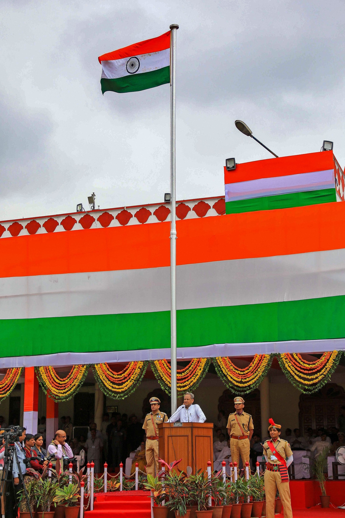 Rajasthan Chief Minister Ashok Ghelot speaks during the 73rd Independence Day at SMS Stadium in Jaipur