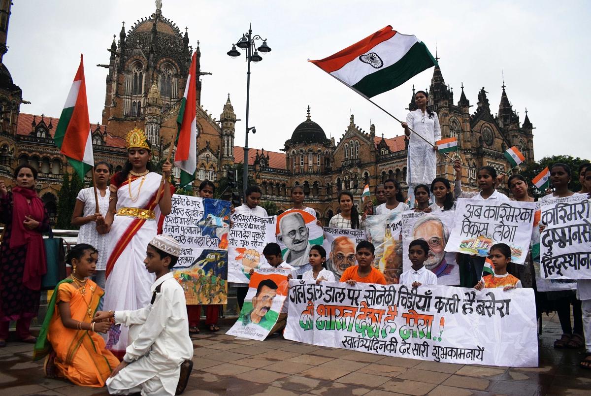 Gurukul students celebrating 73rd Indepandence Day at CST station in Mumbai