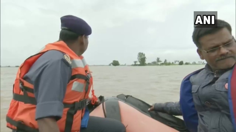 NDRF personnel carry out rescue and relief operations in Kolhapur