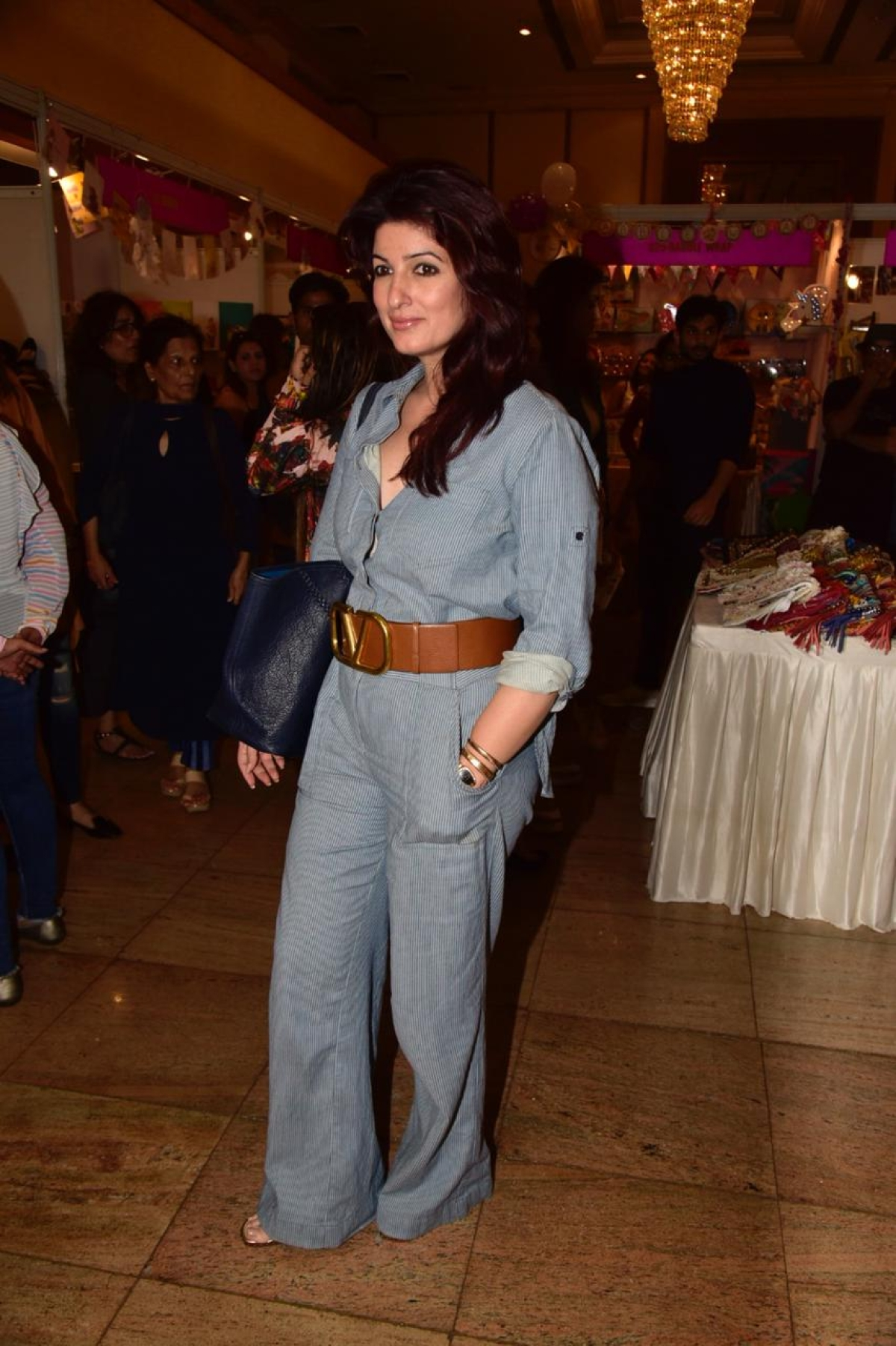 Twinkle Khanna clicked at an event in the Mumbai as she donned a Navy blue jumpsuit.