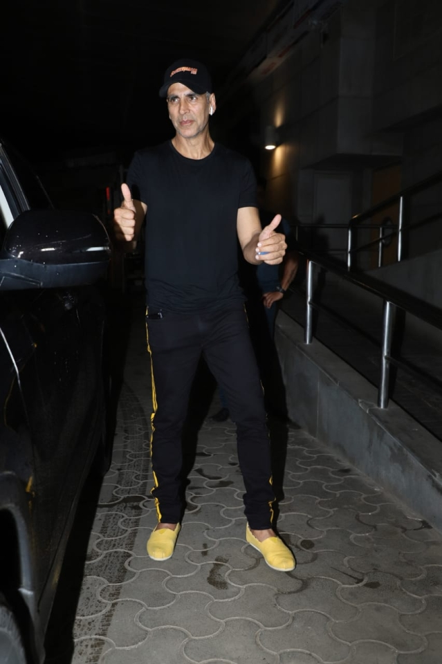 Akshay Kumar gearing up for Mission Mangal dropped by at the film's screening last night.