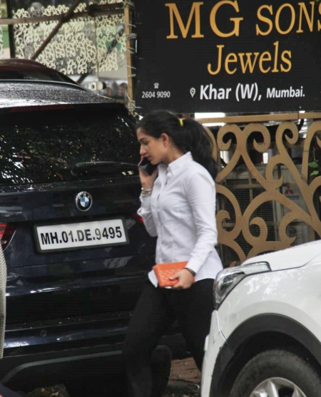Radhika Merchant accompanied by her dog was snapped at a veterinary clinic in Bandra.