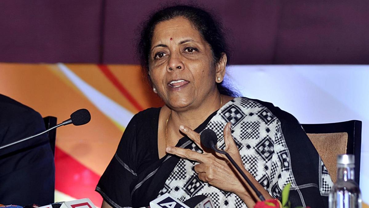 Finance Minister Nirmala Sitharaman addresses a press conference
