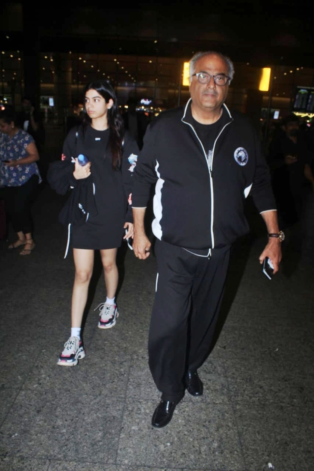 Khushi Kapoor and Boney Kapoor who were in Bali returned today to Mumbai when shutterbugs spotted them on Mumbai airport.