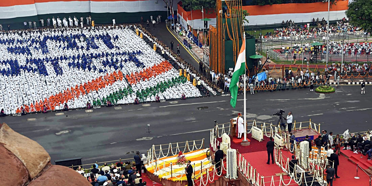 Prime Minister Narendra Modi addressing the Nation on the occasion of 73rd Independence Day from the ramparts of Red Fort, in New Delhi
