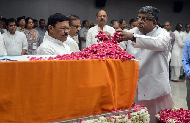 Union Law Minister Ravi Shankar Prasad pays floral tributes during the last respects of former Finance Minister Arun Jaitley at BJP headquarters in New Delhi