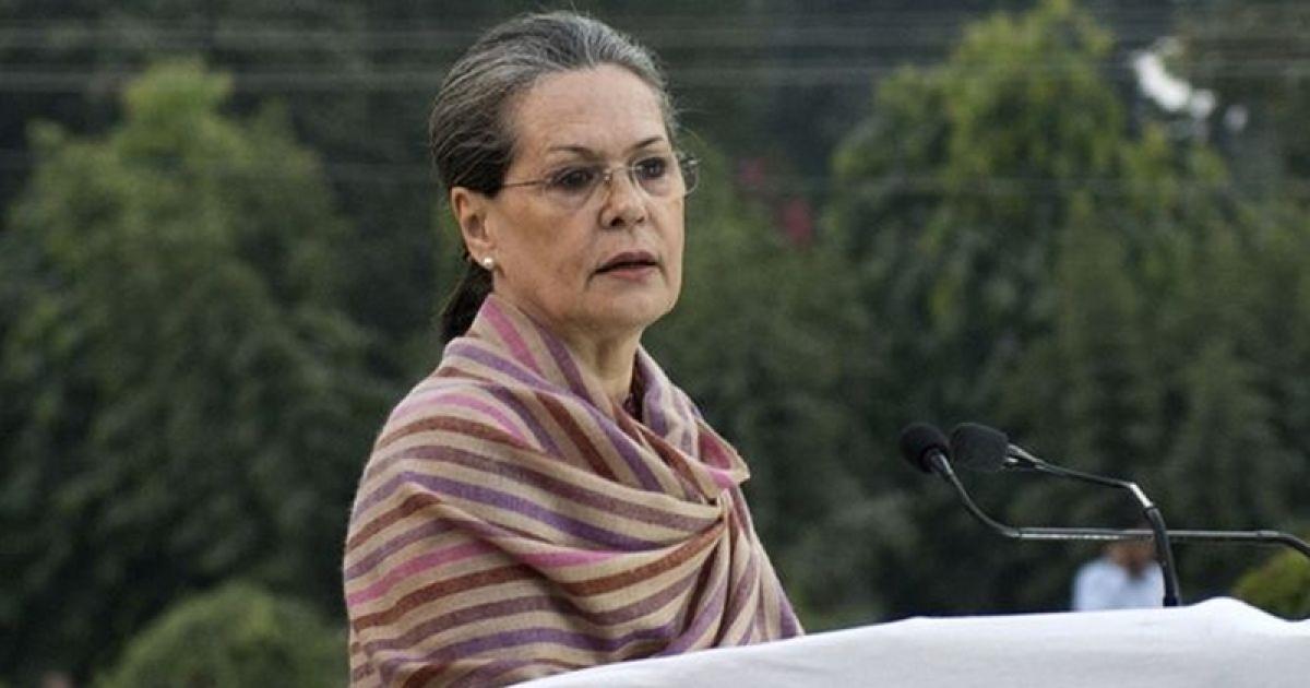 Sonia Gandhi elected as Congress chief temporarily