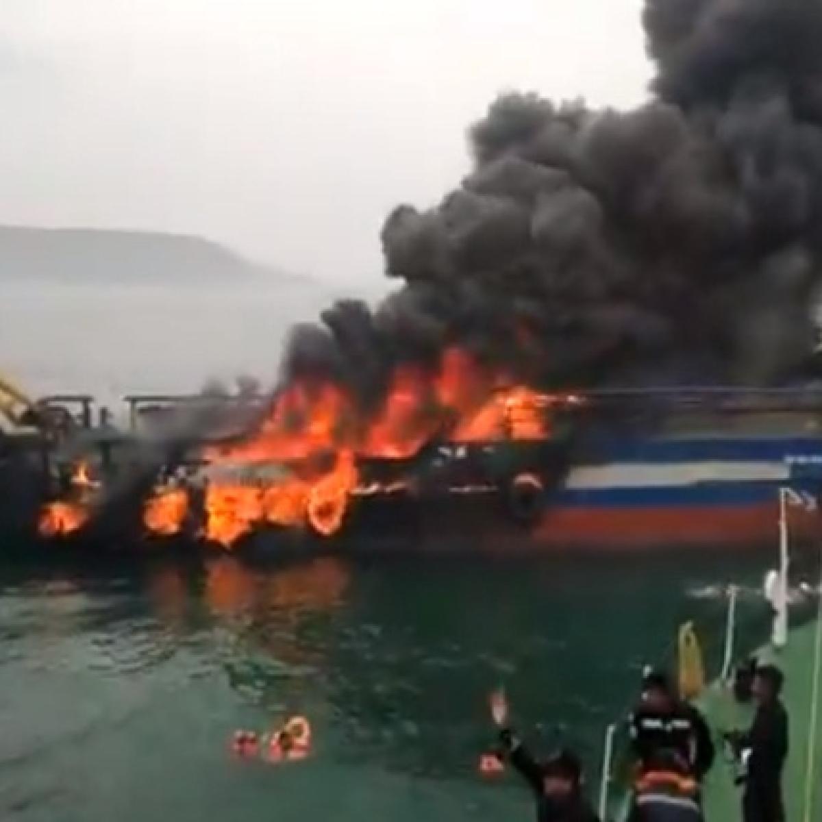 Fire engulfs Coast Guard's offshore support vessel Coastal Jaguar in Visakhapatnam; 28 rescued, 1 missing