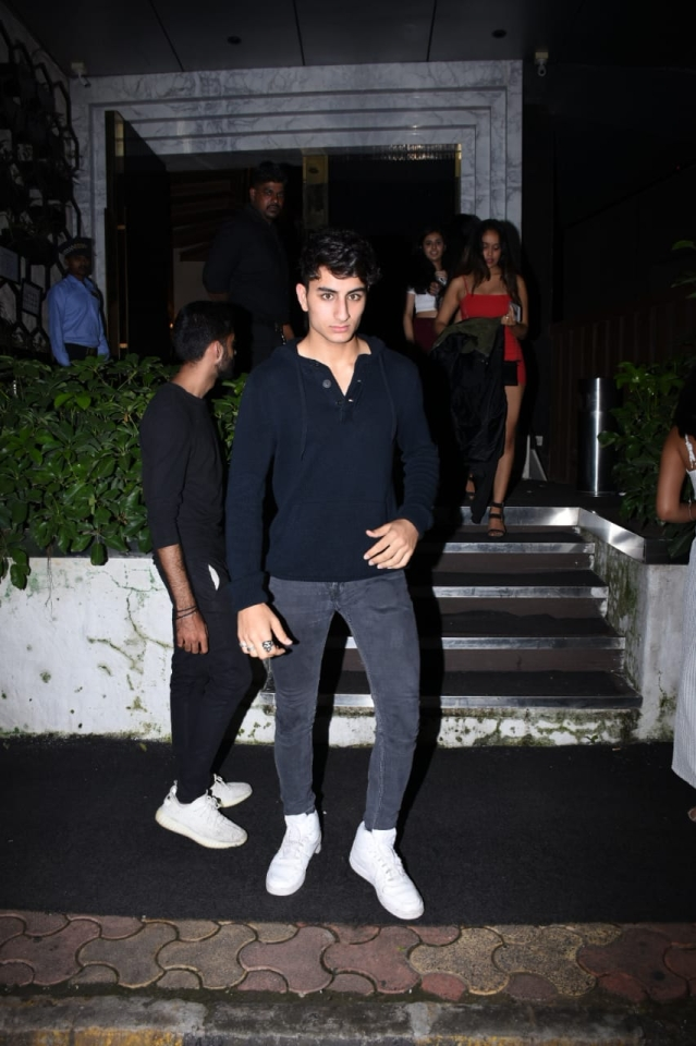 Saif Ali Khan's son Ibrahim Ali Khan and Sohail Khan's son Nirvan Khan clicked by paps at Arth in Khar.