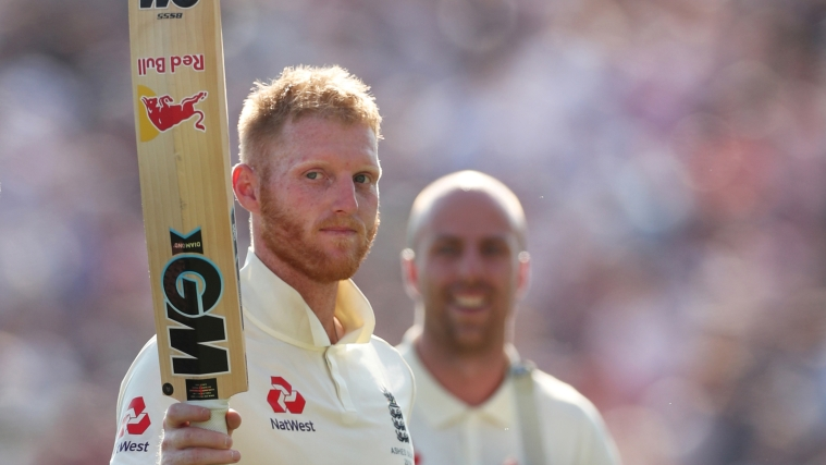 England's Ben Stokes and Jack Leach celebrate winning the test in Cricket Ashes 2019 during Third Test between England and Australia at Headingley in Leeds