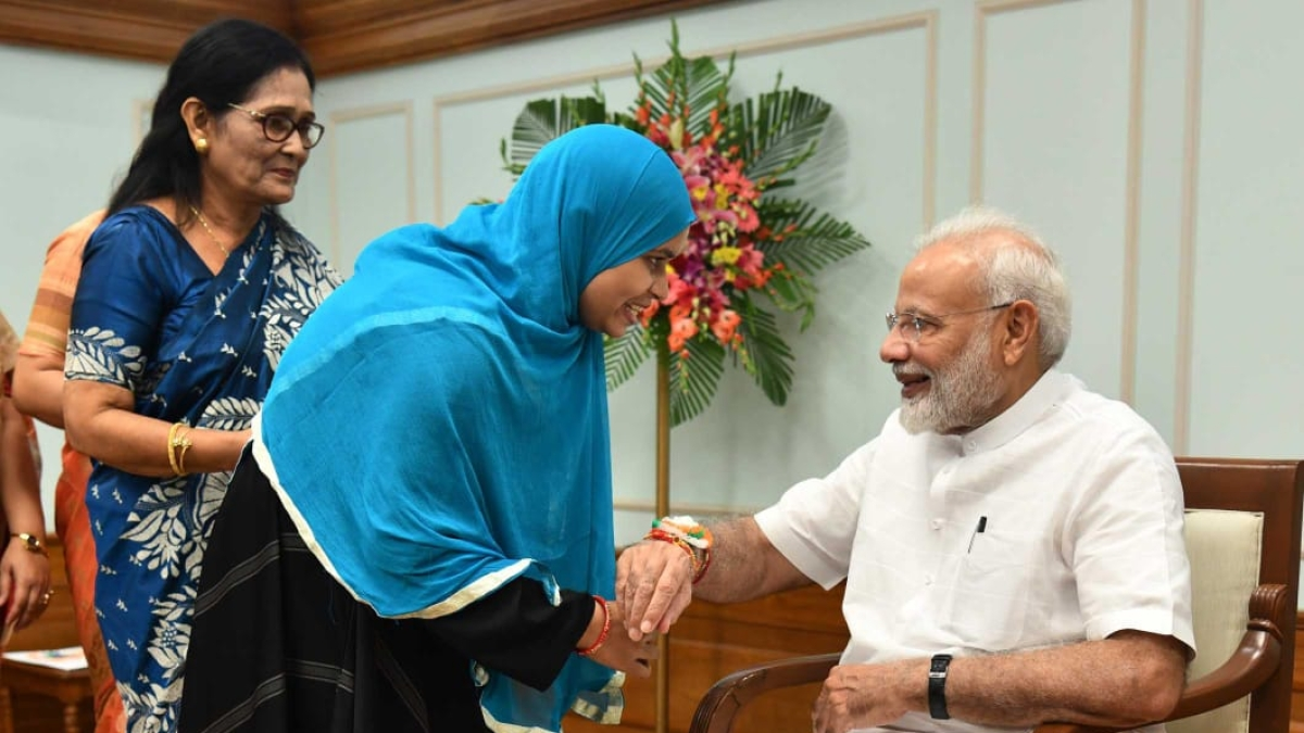 Triple Talaq crusader Ishrat Jahan ties rakhi to PM Narendra Modi