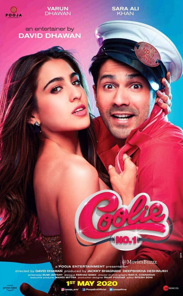 Varun Dhawan and Sara Ali Khan make a quirky pair in the first poster of 'Coolie No 1'