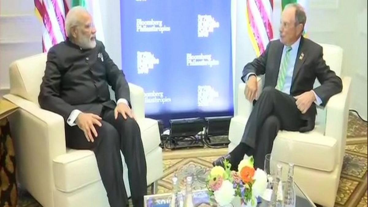 PM Narendra Modi meets Michael Bloomberg in New York