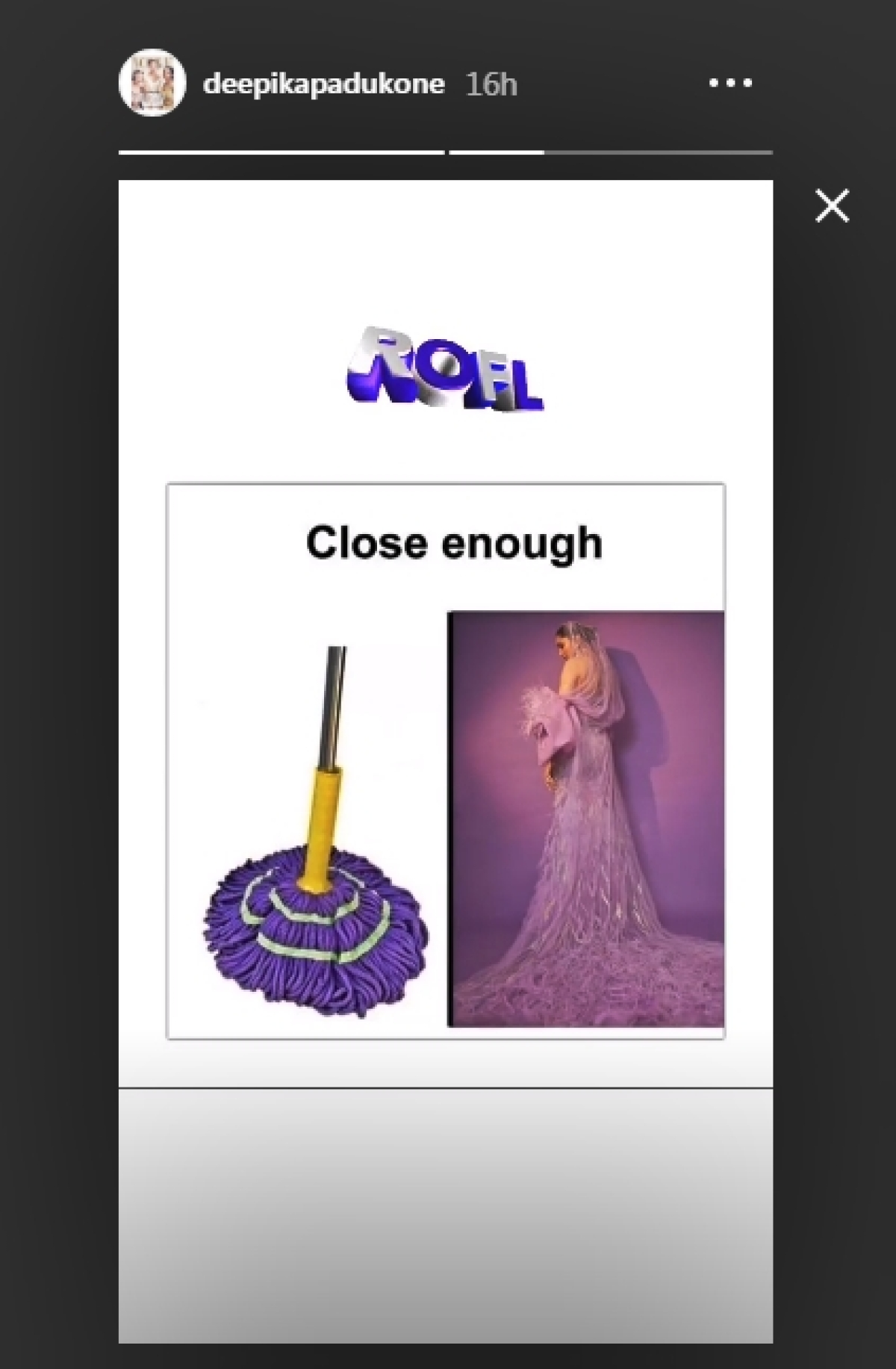 Deepika Padukone shares meme comparing her purple outfit to a mop