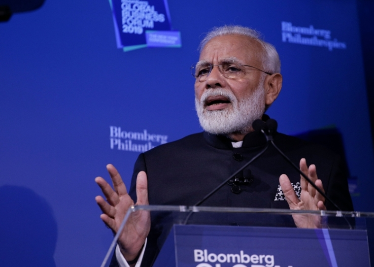 Narendra Modi, Prime Minister of India, speaks during the Bloomberg Global Business Forum in New York on September 25, 2019. (Photo by Kena Betancur / AFP)