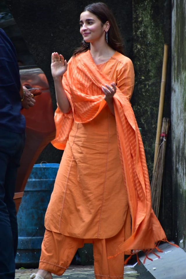 Alia Bhatt snapped in a traditional salwar suit.