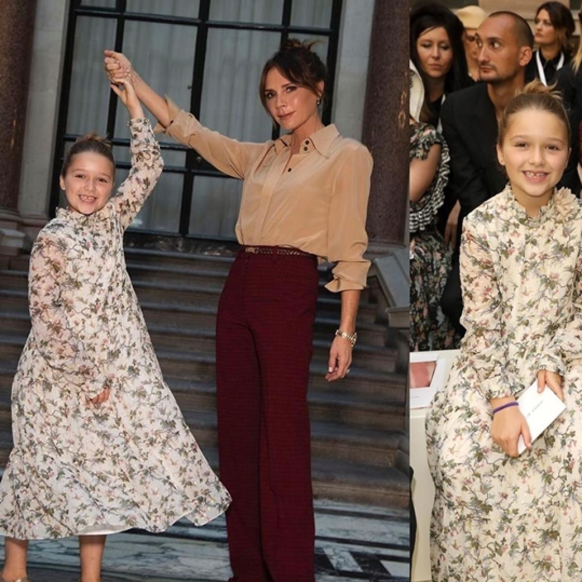 Victoria Beckham's daughter Harper steals the show at London Fashion Week