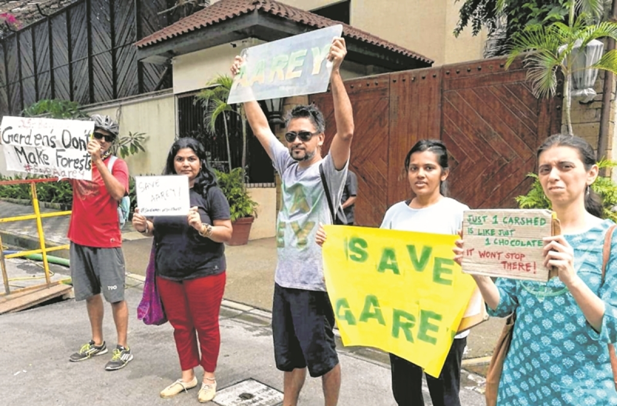 Save Aarey supporters protest outside Big B's bungalow