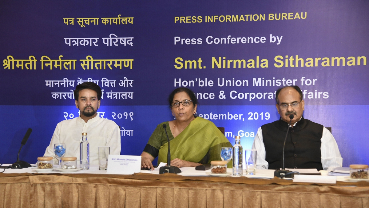 MoS Finance Anurag Thakur, Finance Minister Nirmala Sitharaman and Revenue Secretary Ajay Bhushan Pandey
