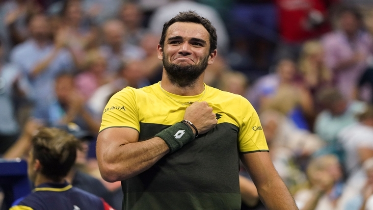 Matteo Berrettini celebrates his win over Gael Monfils