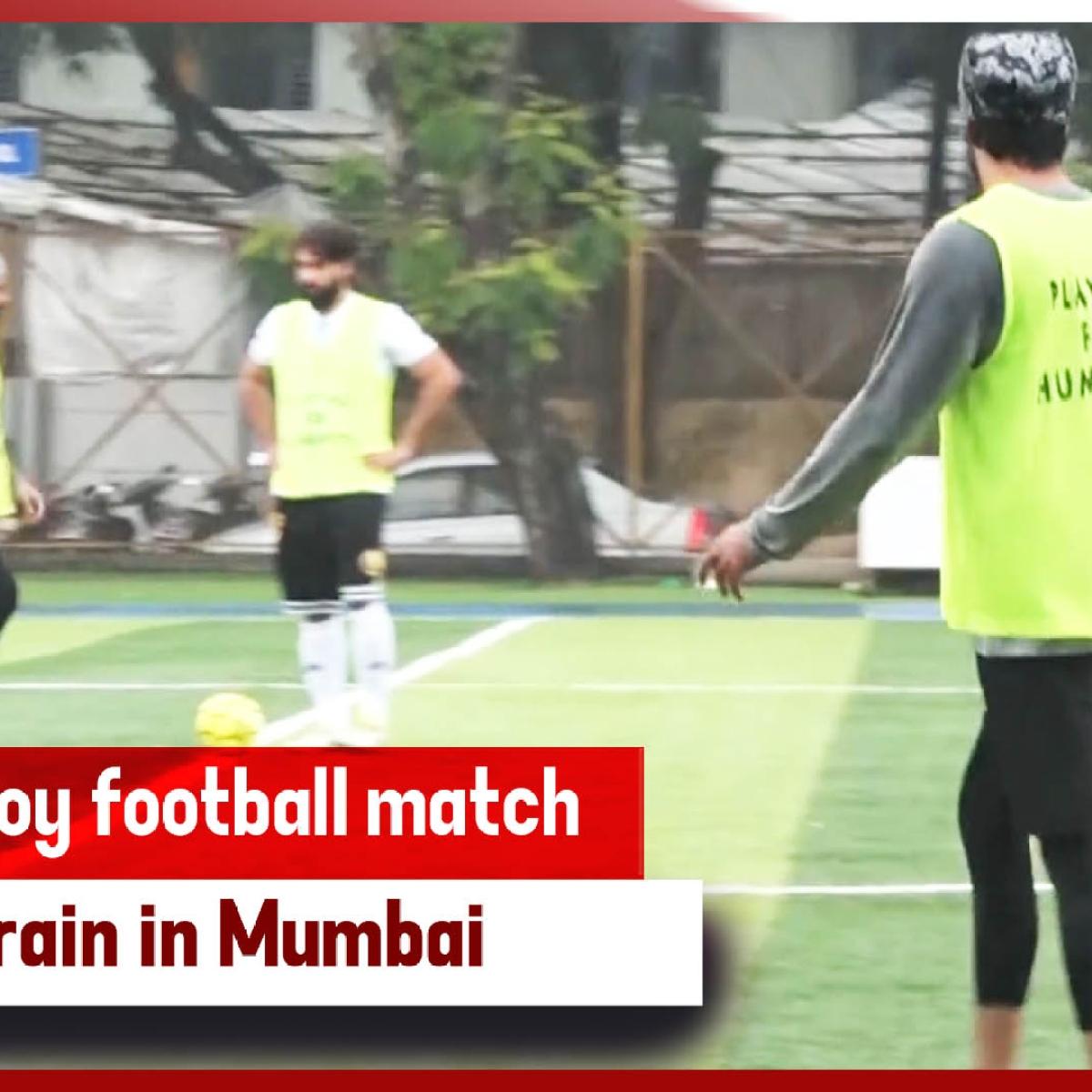 Bollywood Celebs Enjoy Football Match During Rain In Mumbai