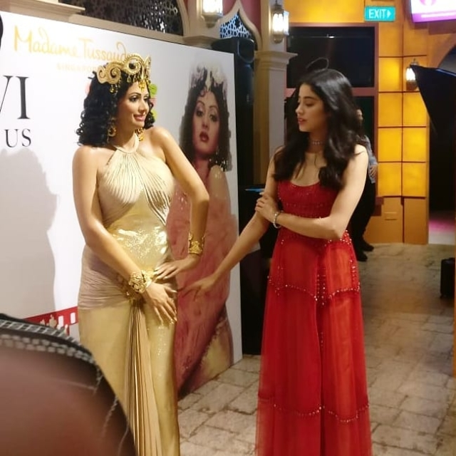 In Pics: Boney, Janhvi, Khushi Kapoor at the unveiling ceremony of Sridevi's wax statue