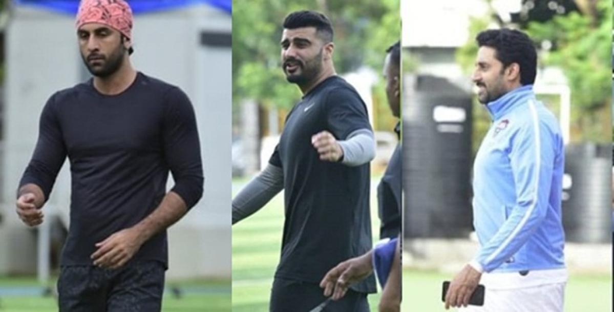 Arjun Kapoor, Abhishek Bachchan, and Ranbir Kapoor sweat it out on football field