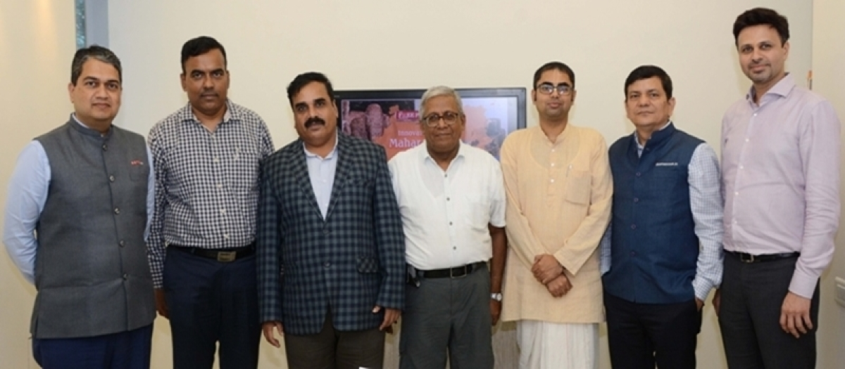 (L to R) Amod Thatte, Head—CPO (MICE), TM (Holidays and MICE), Foreign Exchange and Trade Relations, SOTC; Dhananjay  D Sawalkar, Joint Director, Directorate Tourism, Maharashtra;  Abhimanyu R Kale, MD, MTDC; R N Bhaskar, Consulting Editor;  Nimai Lila Das, Chief Sustainability Officer, ISKCON Govardhan Ecovillage;  Neeraj S Dev, Senior Vice President – Ebusiness, Thomas Cook (India) Limited
