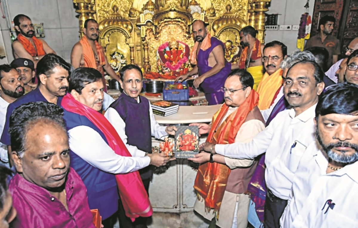 JP Nadda addresses party workers, visits Siddhivinayak Temple