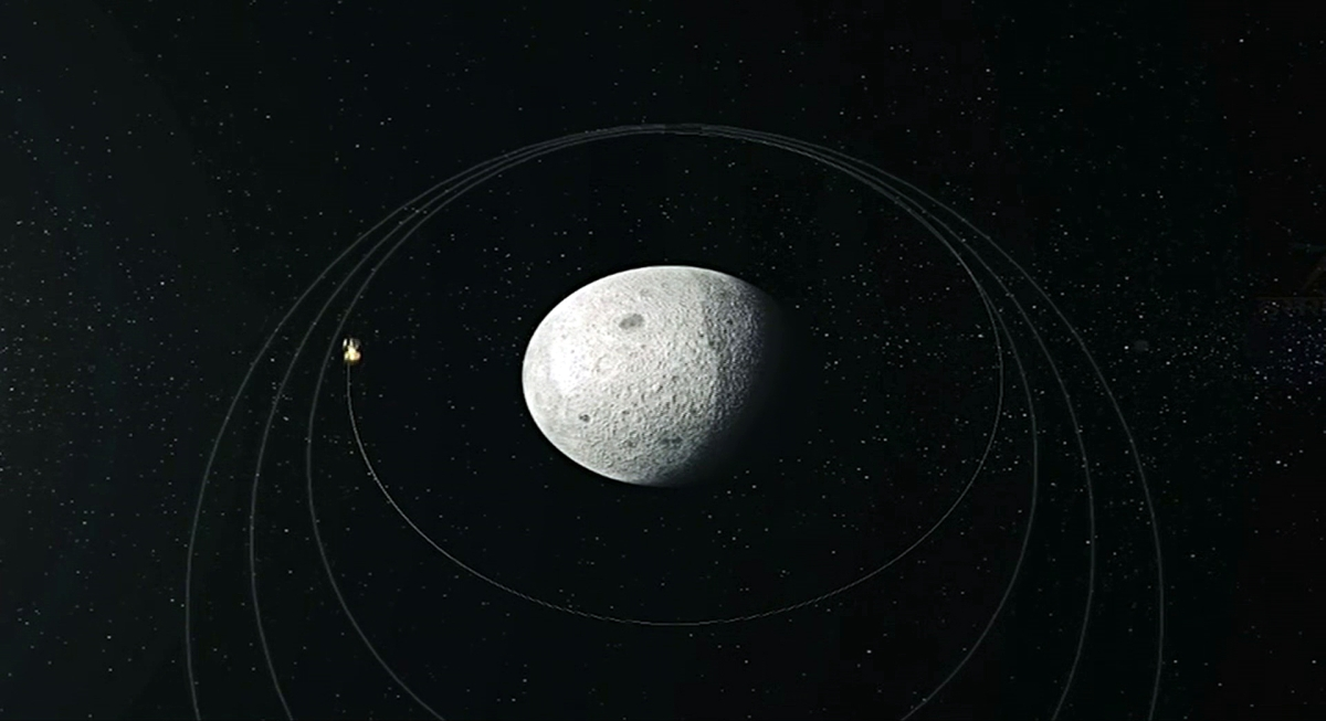 Graphic illustration of Chandrayaan 2 Orbiter circling the moon.