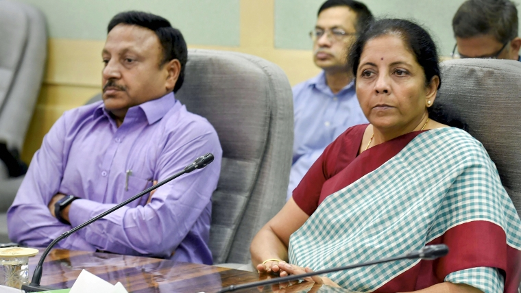Finance Minister Nirmala Sitharaman during a meeting with infrastructure and construction sector representatives, at North Block in New Delhi, Wednesday, Sept 4, 2019. Also seen is Finance Secretary Rajiv Kumar. (
