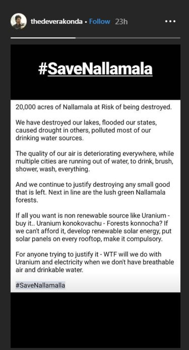We can buy Uranium, but can we buy forests? Vijay Devarakonda fights to save Nallamalla