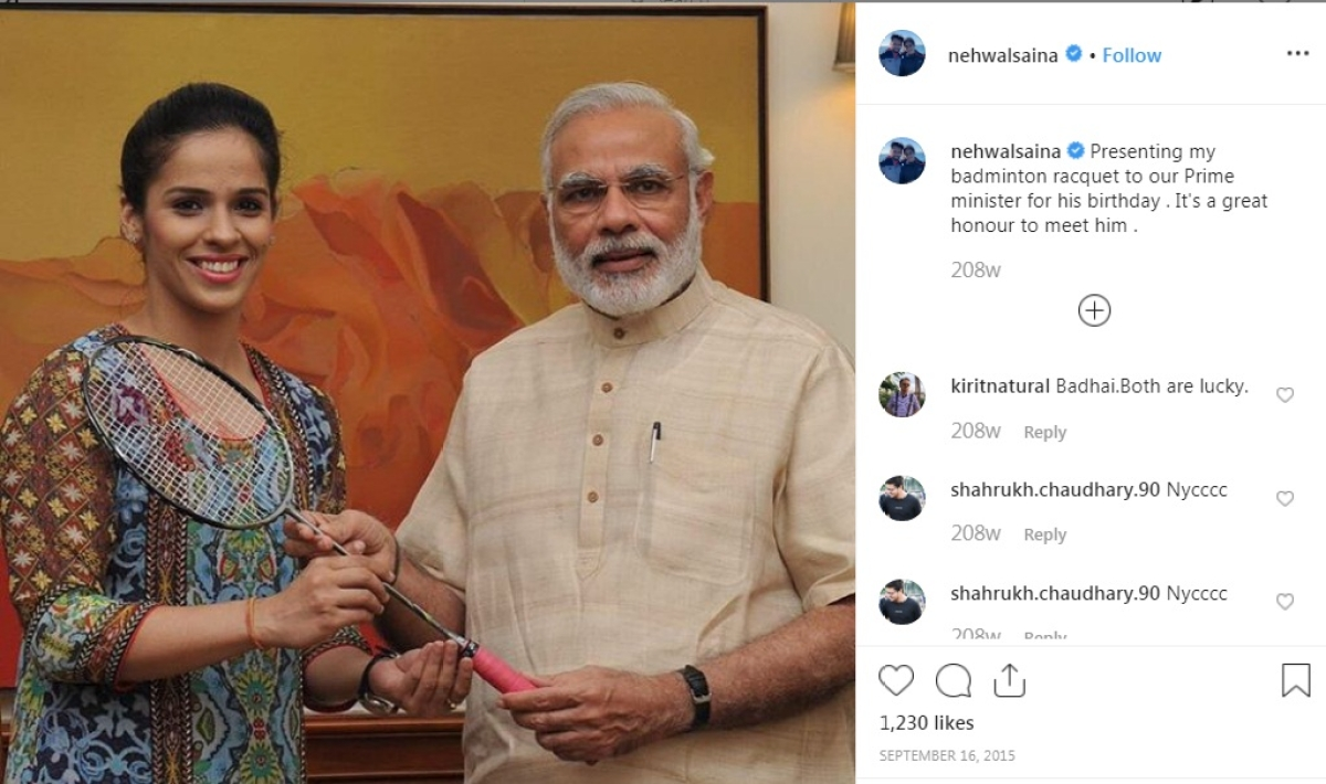 Badminton Player Saina Nehwal and PM Narendra Modi