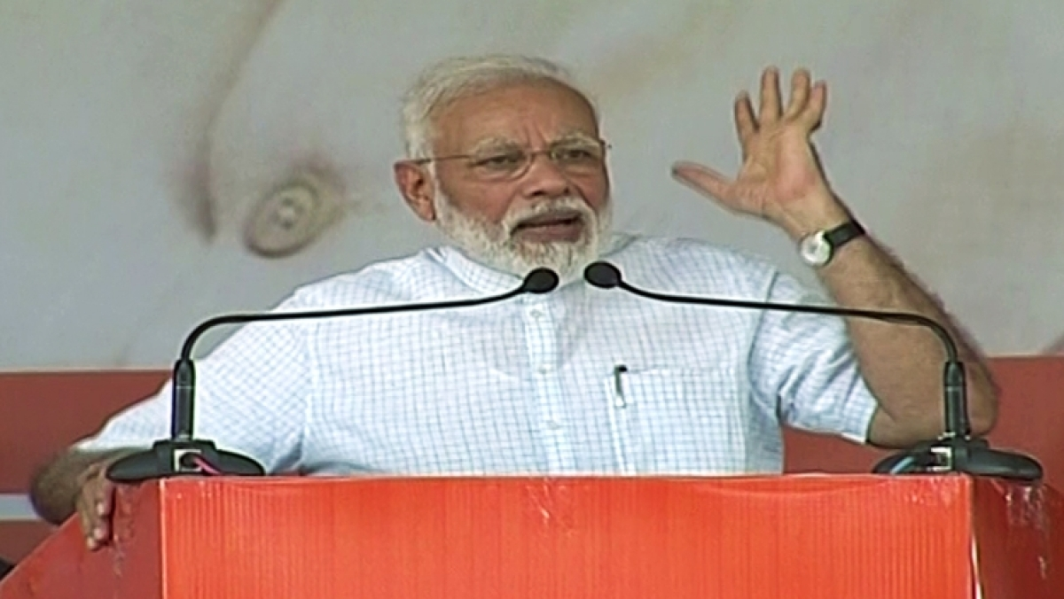 PM Narendra Modi addressing the rally at Rohtak today.