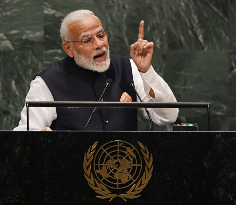 Indian Prime Minister Narendra Modi speaks during the 74th Session of the General Assembly at UN Headquarters in New York on September 27, 2019. (Photo by Timothy A. CLARY / AFP) / ALTERNATIVE CROP