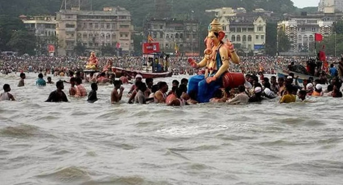 Ganpati idol immersed