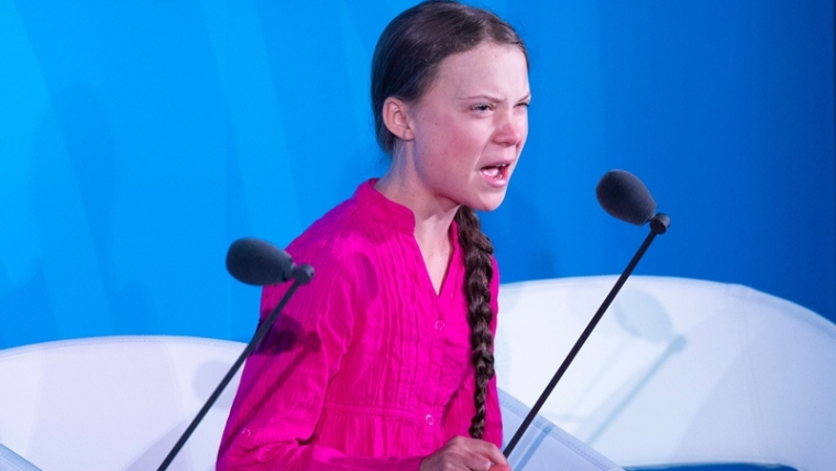 Youth Climate activist Greta Thunberg speaks during the UN Climate Action Summit at the United Nations Headquarters in New York City.