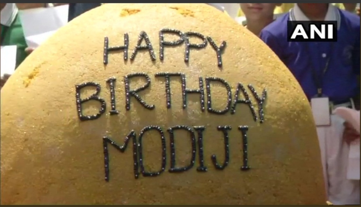 568-kg ladoo on 68th birthday of PM Modi.