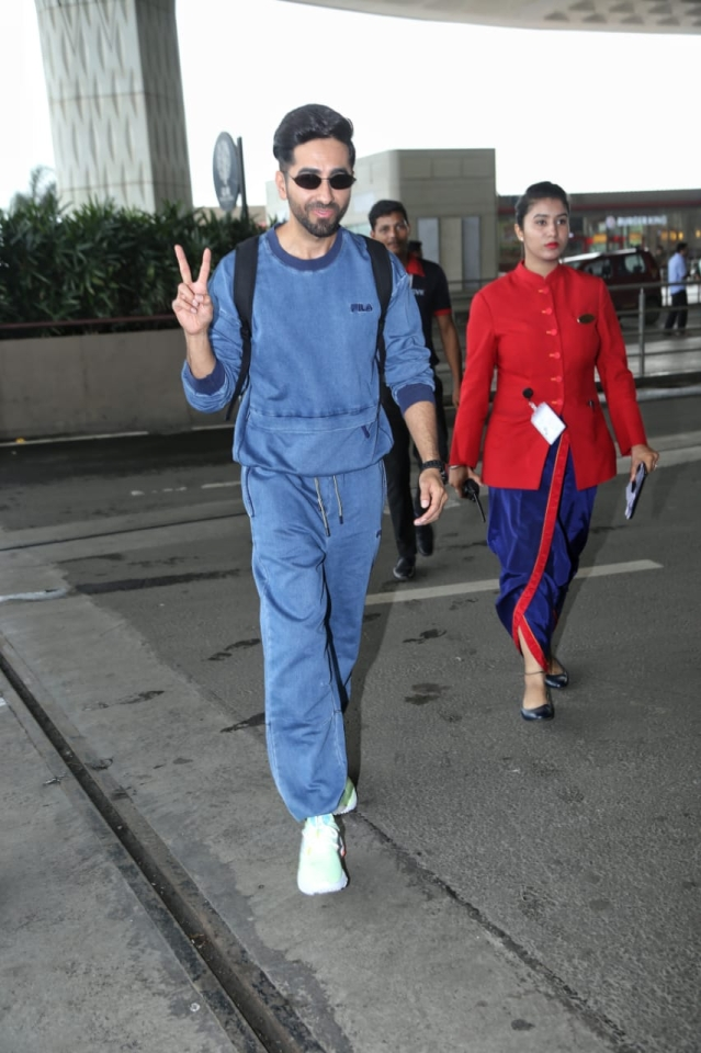 Ayushmann Khurrana who is gearing up for the release of his next film 'Dream Girl' was snapped heading out for film promotion. He was seen wearing an all blue outfit with a black backpack and white sneakers.