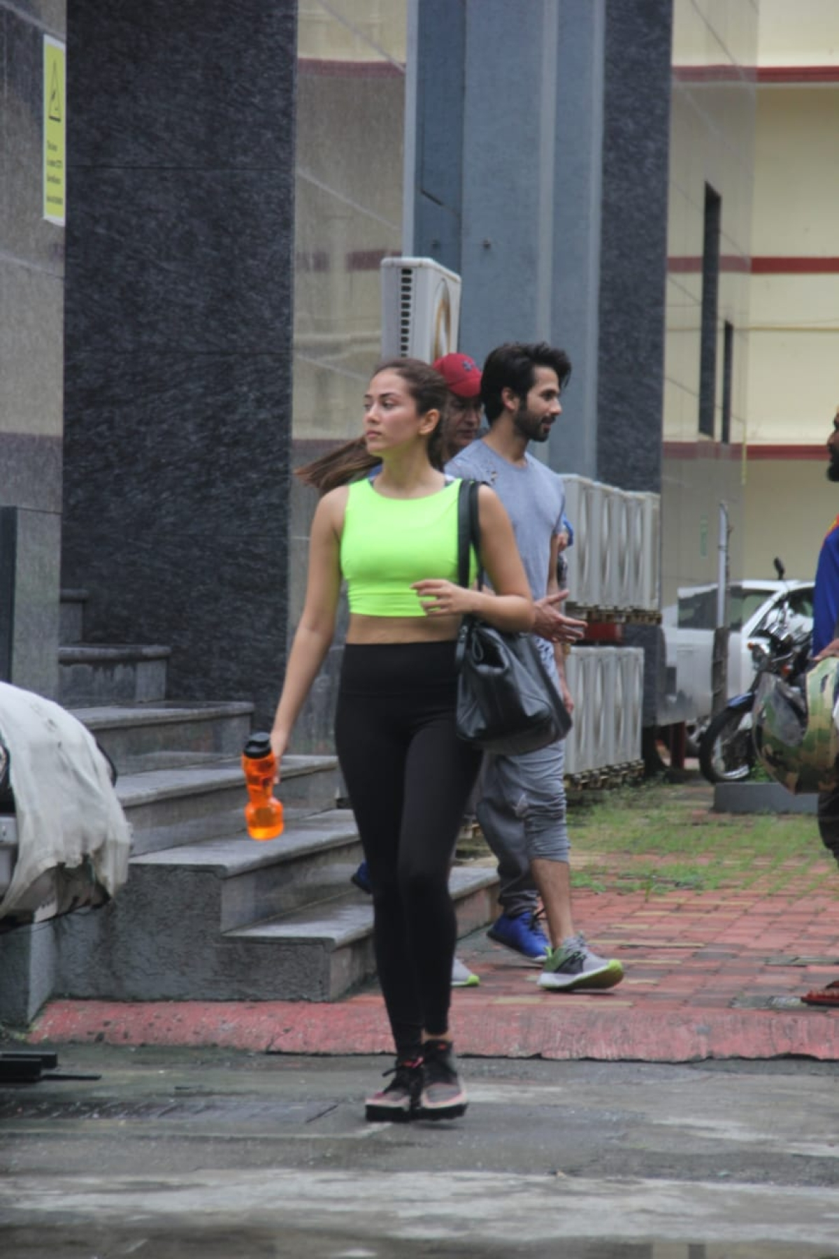 Mira is often seen training with her husband Shahid Kapoor. She was snapped heading home in a neon gym outfit.